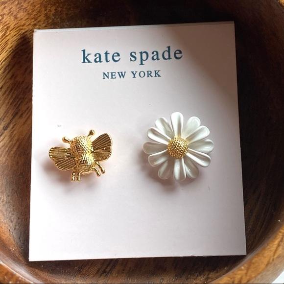 New Kate Spade White Flower Daisy Bee Earrings